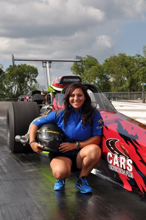 Mia Tedesco with her Super Comp dragster in 2011