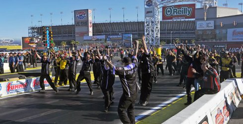 Alexis DeJoria's crew and other Kalitta Motorsport team members hit the jackpot in Vegas.