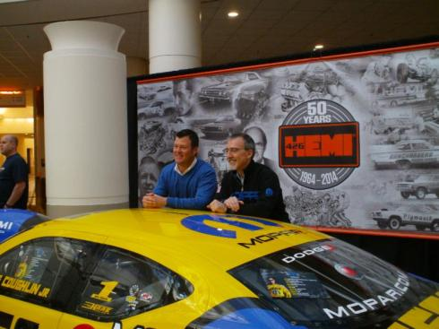 At an invitational tour of Chrysler Headquarters & Technology Center, five-time NHRA Pro Stock champion Jeg Coughlin Jr. (left) met with Chrysler President and CEO Pietro Gorlier. Notice the relaxed look and dress
