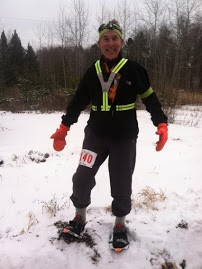 Sr Snowshoe Editor, Phillip Gary Smith, racing the Tuscobia Winter Ultras, Park Falls, WI