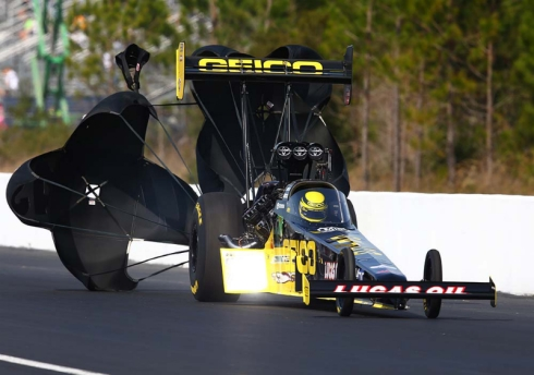 GEICO Top Fuel driver, Richie Crampton, to test after new Kalitta driver, JR Todd, left on him big time (photo by Mark J. Rebilas)