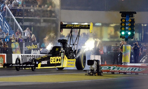The beautiful GEICO dragster piloted by Richie Crampton captured a Countdown slot at Brainerd
